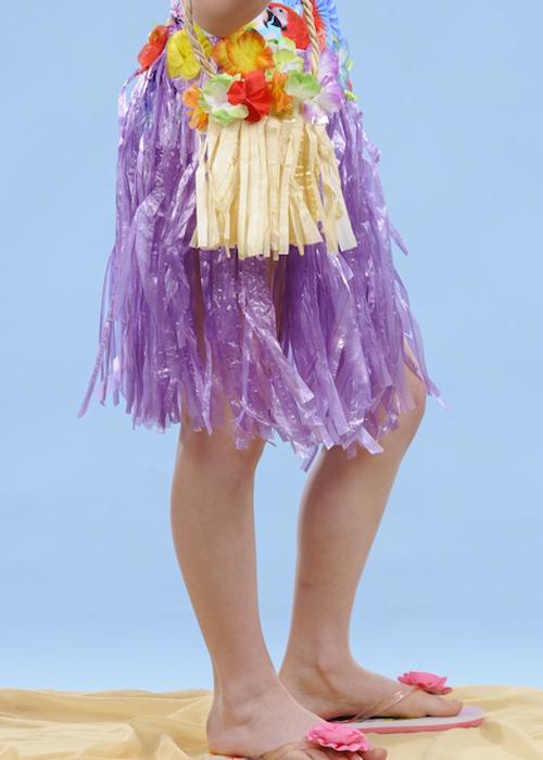 Kids Size Purple Hawaiian Grass Skirt