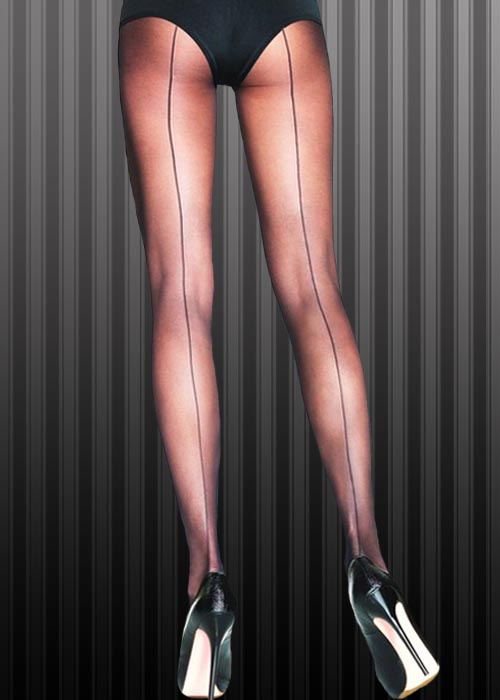 Flapper Girl 1920s Black Sheer Seamed Tights