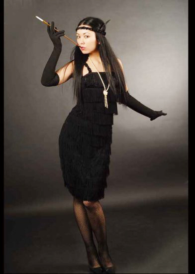 Ladies Roaring 20s Black Fringed Flapper Costume Black