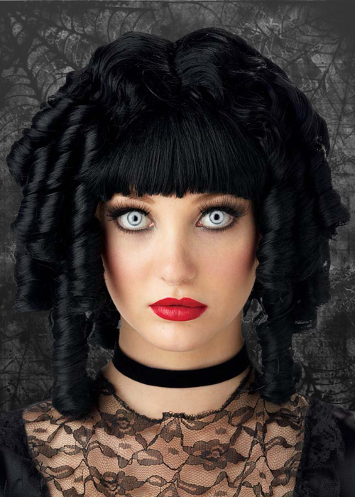 Womens Gothic Black Curly Ghost Doll Wig