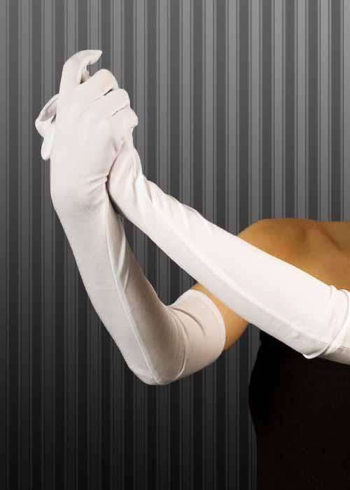 1920s Long White Flapper Girl Evening Gloves