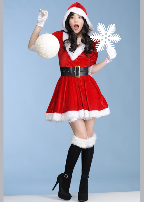 Ladies christmas deluxe cute miss santa claus costume