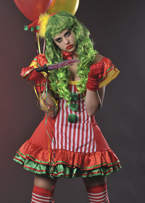 womens halloween red scary clown costume
