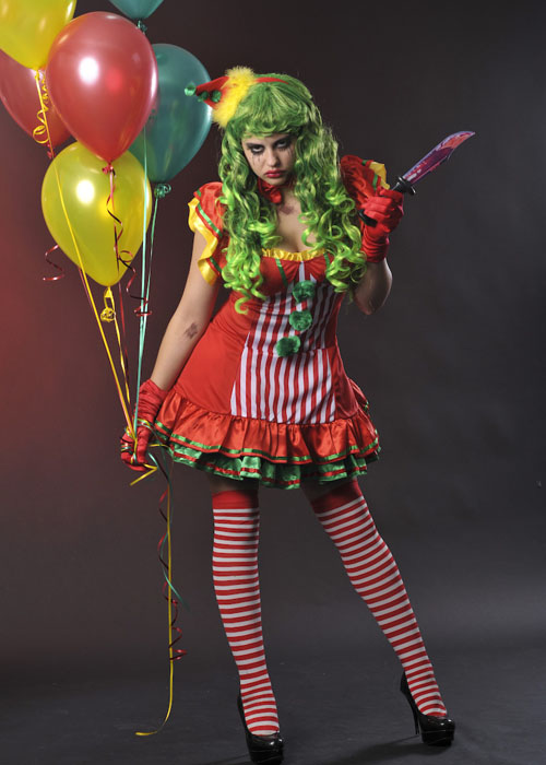 Womens Halloween Red Scary Clown Costume Ladies Scary