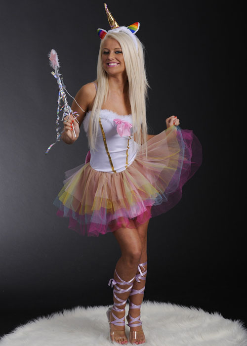 Become a sexy mythical creature this Halloween when you wear this Women's Unicorn Beauty Costume. It features a zip-up dress with Unicorn hoodie and leg warmers.