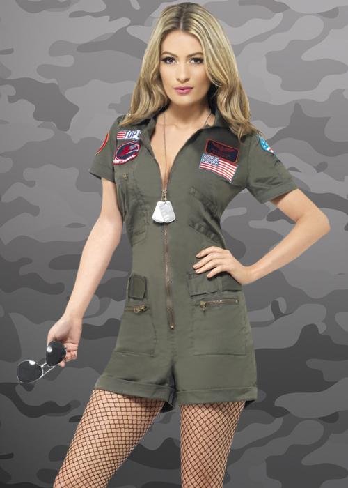 sc 1 st  Struts Fancy Dress & Ladies Deluxe Top Gun Playsuit Costume