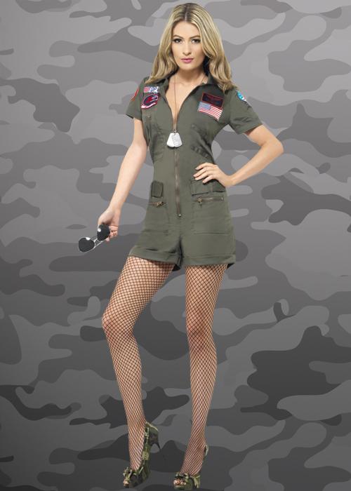 Ladies Deluxe Top Gun Playsuit Costume ecd3c34a90bee