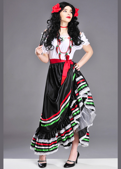 Authentic Mexican Lady Senorita Costume Authentic Mexican