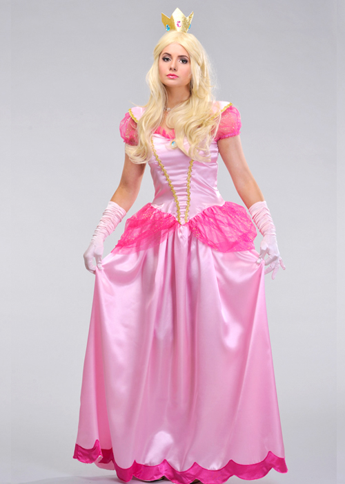 sc 1 st  Struts Fancy Dress & Womens Long Pink Princess Peach Style Costume
