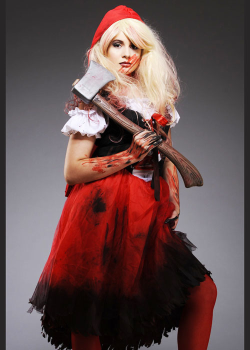 halloween long zombie red riding hood costume