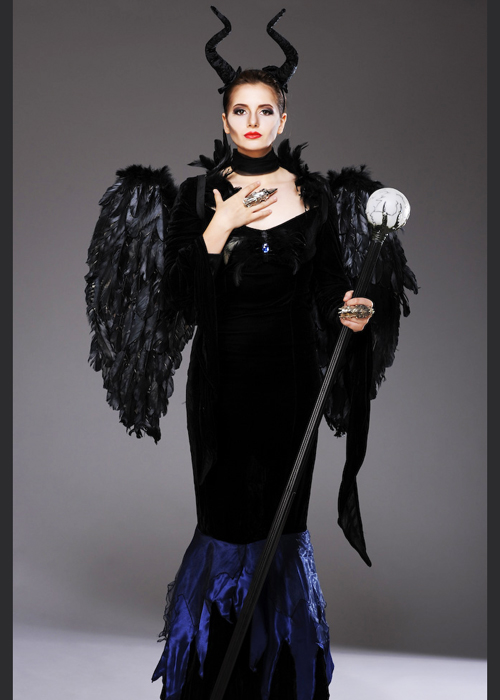 Womens Maleficent Style Evil Queen Costume With Wings