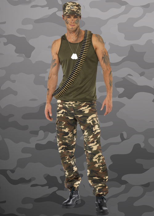 Army Man Mens Fancy Dress Military Soldier Camouflage Uniform Adults Costume