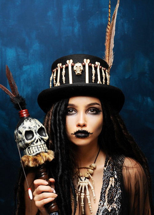 Adult Voodoo Witch Doctor Top Hat With Brown Feather