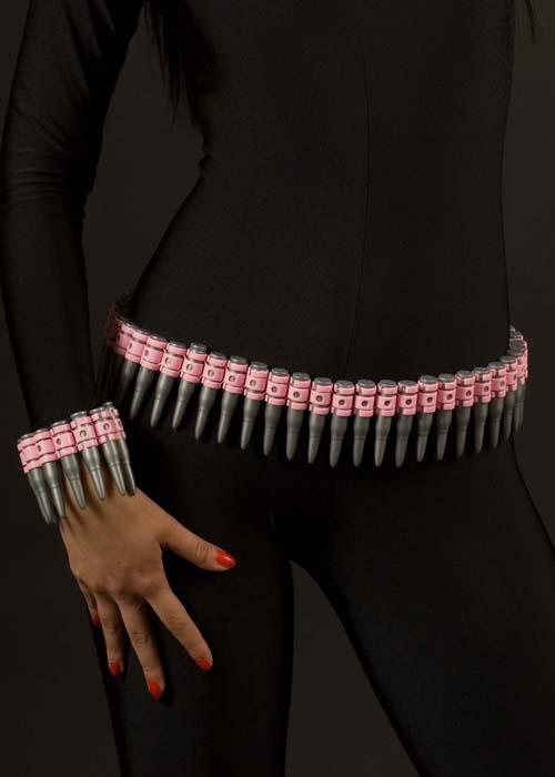 pink plastic army fancy dress bullet belt ba677 struts