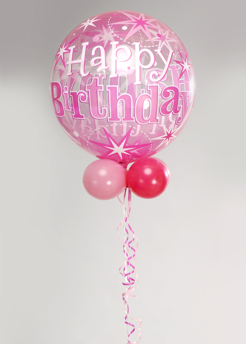Pink Birthday Bubble Balloon With Collar And Base