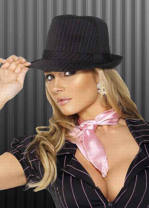 Pink Pinstripe Trilby 1920s Gangster Hat
