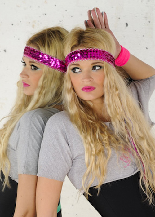 Ladies 80s Bright Pink Sequin Headband 1406cd3a6d1