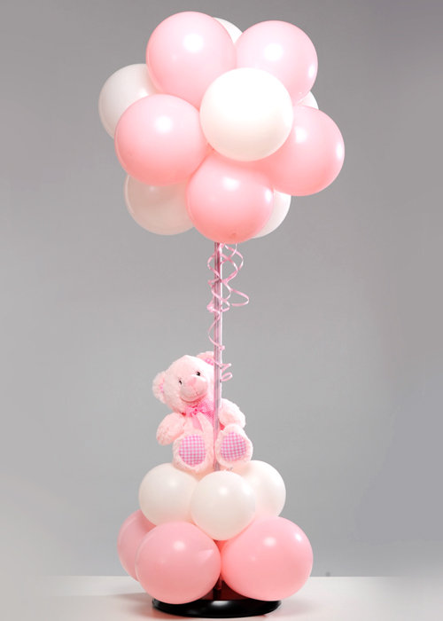 Pink Baby Teddy Bear Balloon Tree Centrepiece