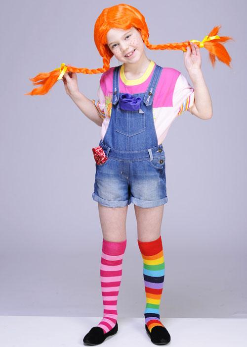 Ladies Pippi Longstocking Style Orange Plaited Wig