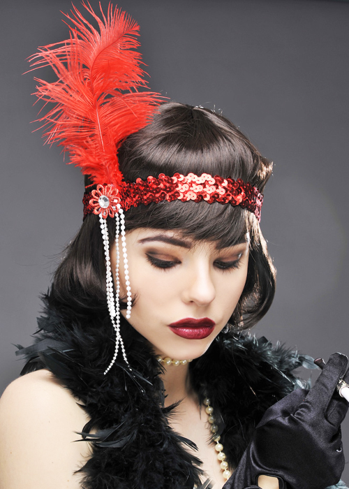 Womens 1920s Red Feather Flapper Headband