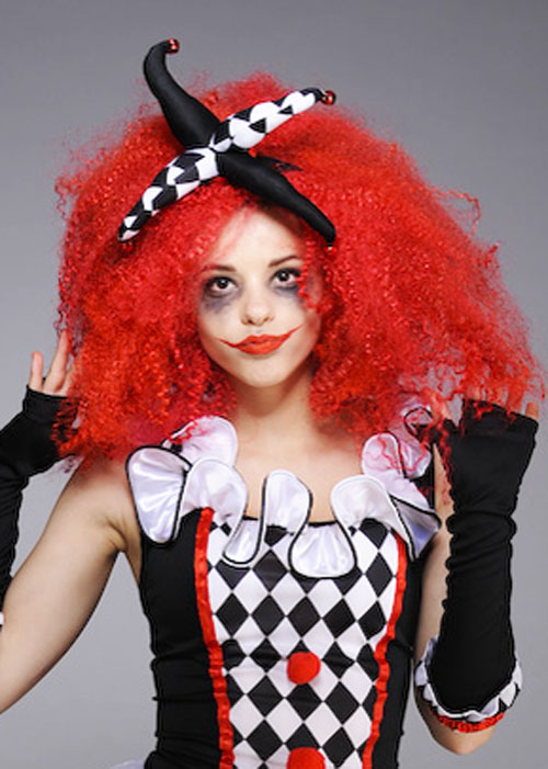 Womens Halloween Gothic Red Crimped Wig DOES NOT INCLUDE JESTER HEADPIECE 29a1ce939b