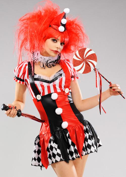 Womens Cute Harlequin Clown Costume Ladies Sexy Harlequin