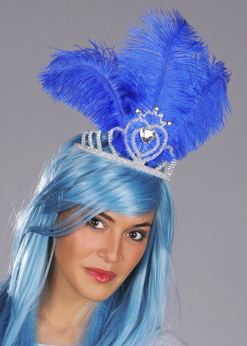Blue Showgirl Headdress Royal Blue Feather Moulin Rouge Carnival Burlesque