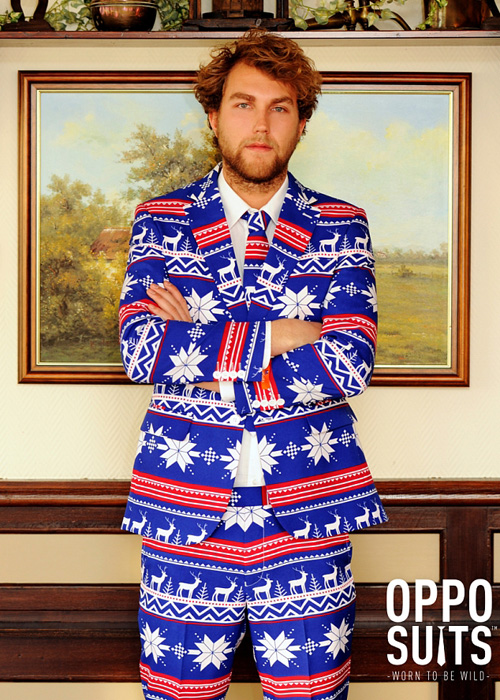Mens Christmas Jumper Rudolph Pattern Suit Costume