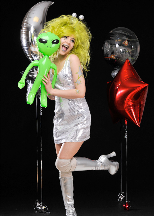 womens silver sequin space girl alien costume. Black Bedroom Furniture Sets. Home Design Ideas