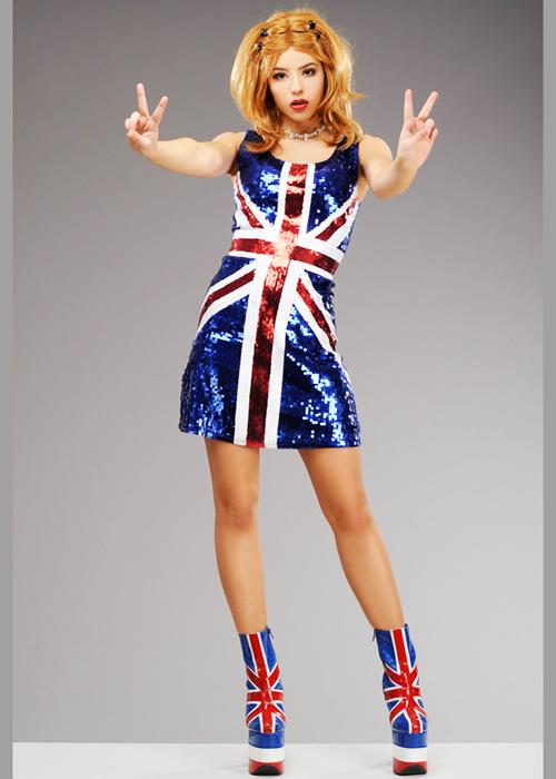 Womens Ginger Spice Girls Union Jack Geri Sequin Dress Pop Star Costume