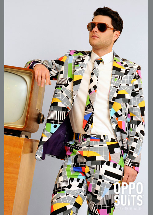 adult mens 80s test card suit costume