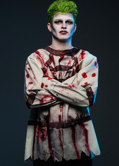 Mens Halloween The Joker Style Straight Jacket Costume