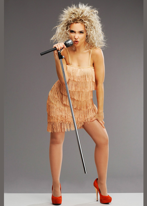 Ladies 1980s Tina Turner Style Fringed Costume With Wig
