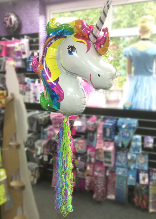 Inflated Unicorn Balloon With Rainbow Tail