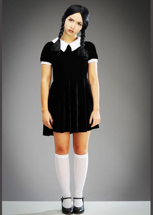 Womens Wednesday Addams Style Halloween Costume