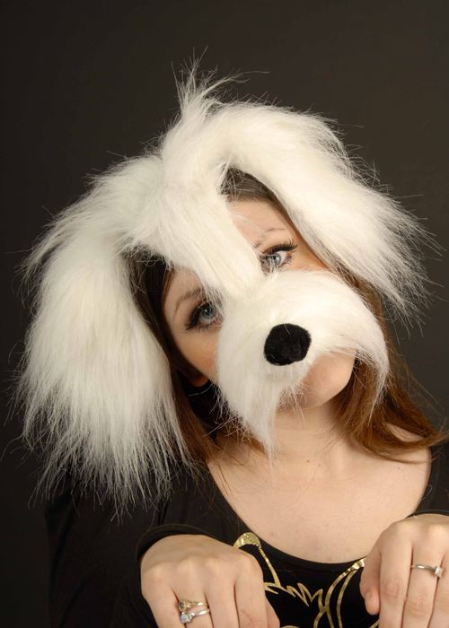 White Shaggy Dog Mask On Headband [EM358] : Struts Party ...