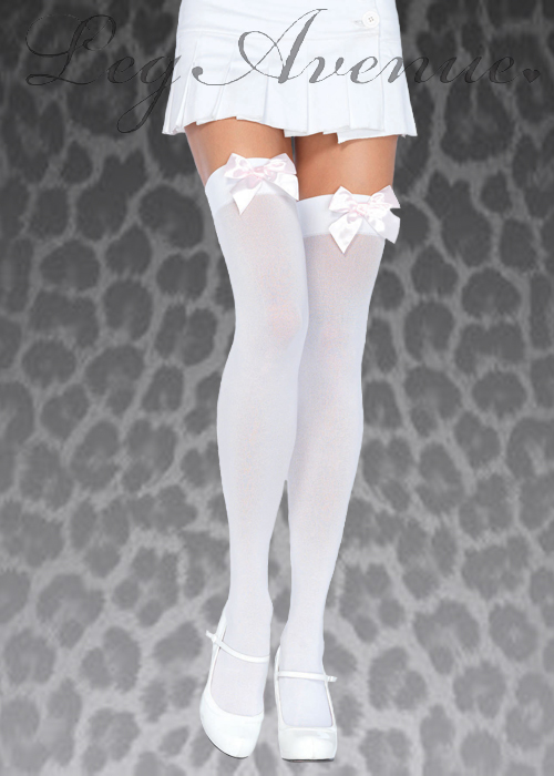 df75cc92926 Leg Avenue White Thigh Highs With Pink Bows