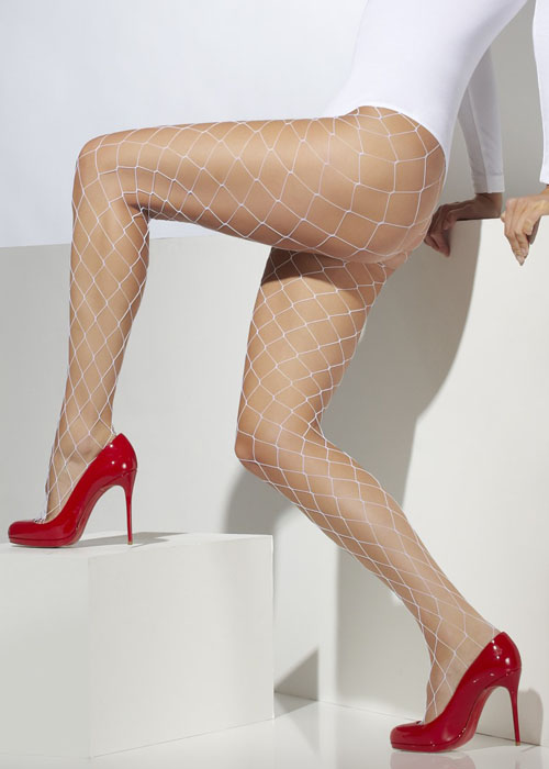 Ladies White Wide Hole Fishnet Tights [26883/42740] : Struts Party Superstore