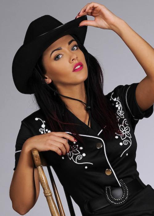 Adult Womens Western Black Cowgirl Costume