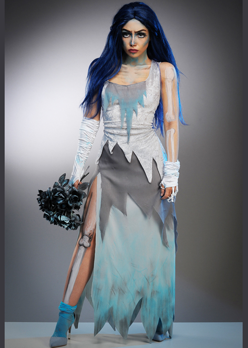 Womens Halloween Long Corpse Bride Style Costume