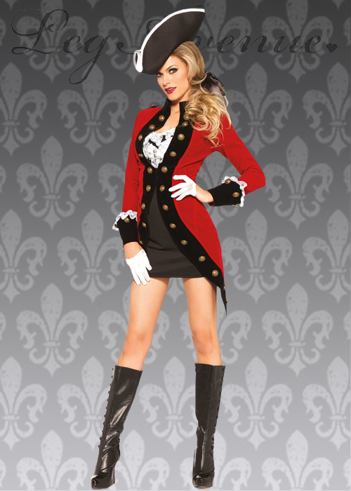 09abd6f34 Details about Womens Captain Hook Style Red Pirate Lady Costume