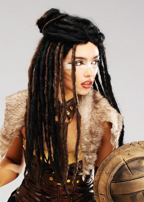Womens Warrior Dreadlock Bun Wig
