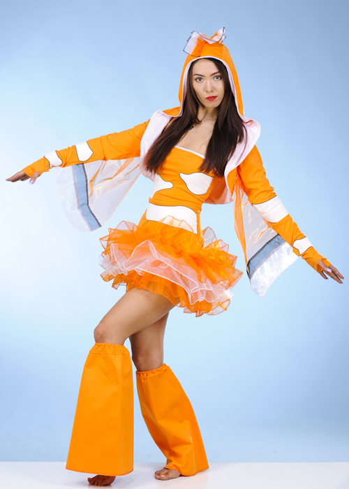 Womens finding nemo style clown fish costume for Sexy fish costume
