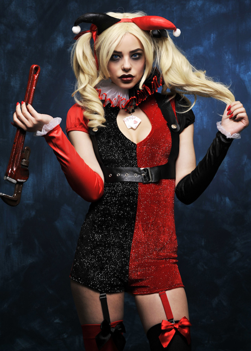 Ladies Cute Glitter Harley Quinn Style Costume