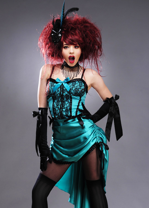 Womens Green Burlesque Showgirl Costume