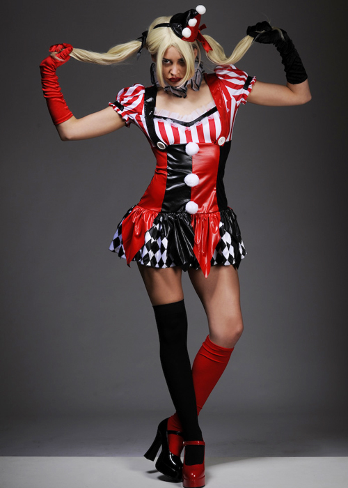 ladies sexy gothic harley quinn style dress costume ladies sexy gothic harlequin costume. Black Bedroom Furniture Sets. Home Design Ideas