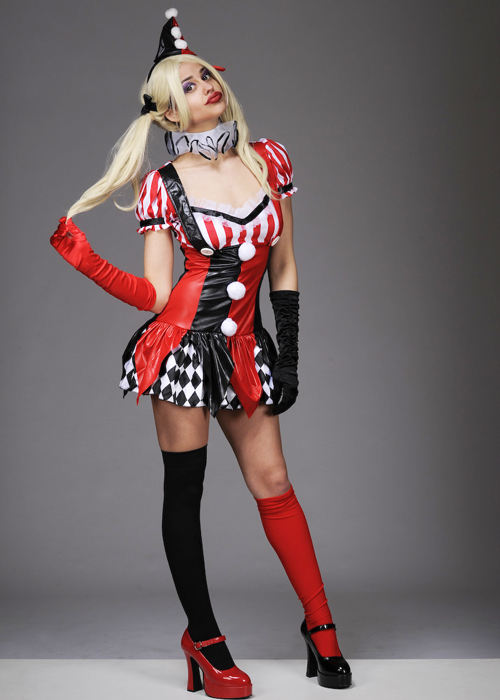 Womens Gothic Harley Quinn Style Dress Costume  sc 1 st  Struts Fancy Dress & Womens Gothic Harley Quinn Style Dress Costume Ladies Sexy Gothic ...