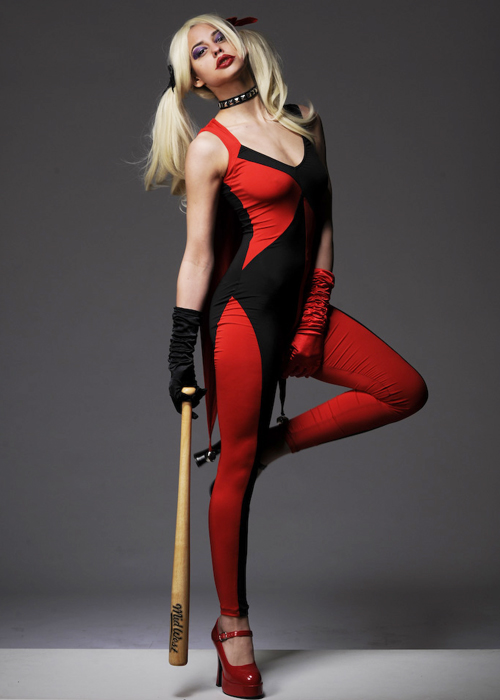 Womens Red Harley Quinn Style Catsuit Costume
