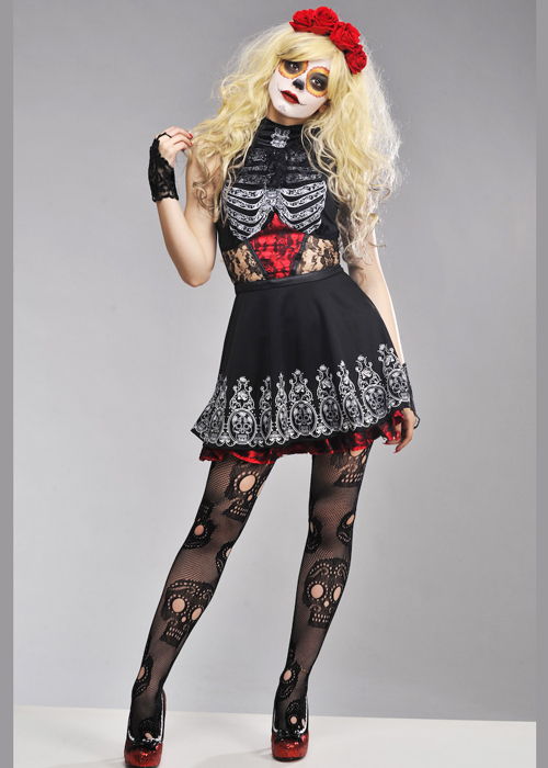 Womens Red Day Of The Dead Costume