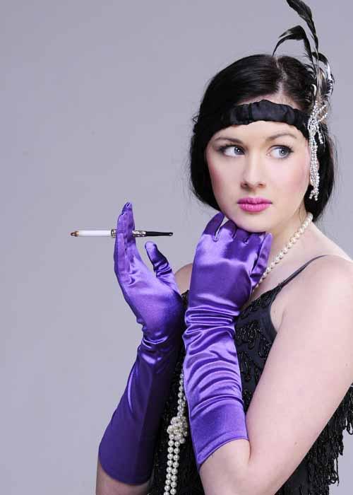 Ladies 20s Long Purple Satin Gloves